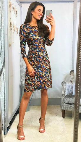 5922 Mira Puff Sleeve Floral Dress