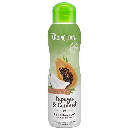 TropiClean 2-In-1 Papaya & Coconut Luxury (Cleans & Conditions) For Dogs 12oz