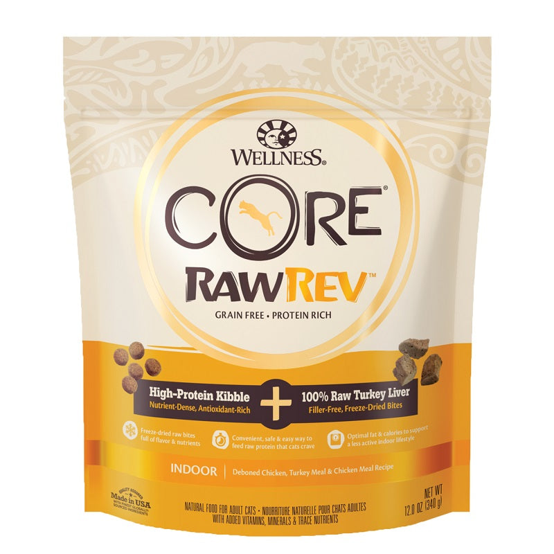 Wellness Core RawRev Grain Free Indoor Recipe with Freeze-Dried Turkey Liver Cat Dry Food 12oz