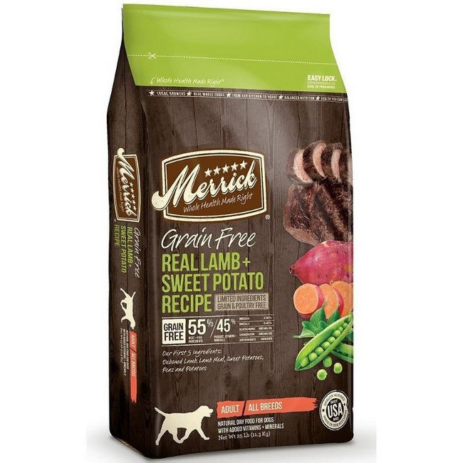 Merrick Grain Free Real Lamb & Sweet Potato Dog Dry Food  25Lbs