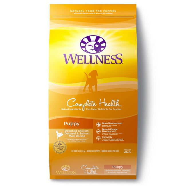 Wellness Complete Health Puppy Deboned Chicken, Oatmeal & Salmon Dog Dry Food 30Lb