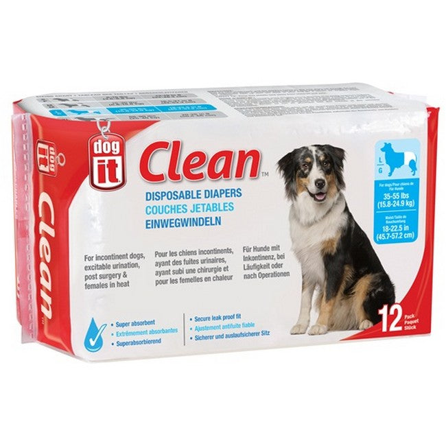 Dogit Clean Disposable Diapers Large 12's
