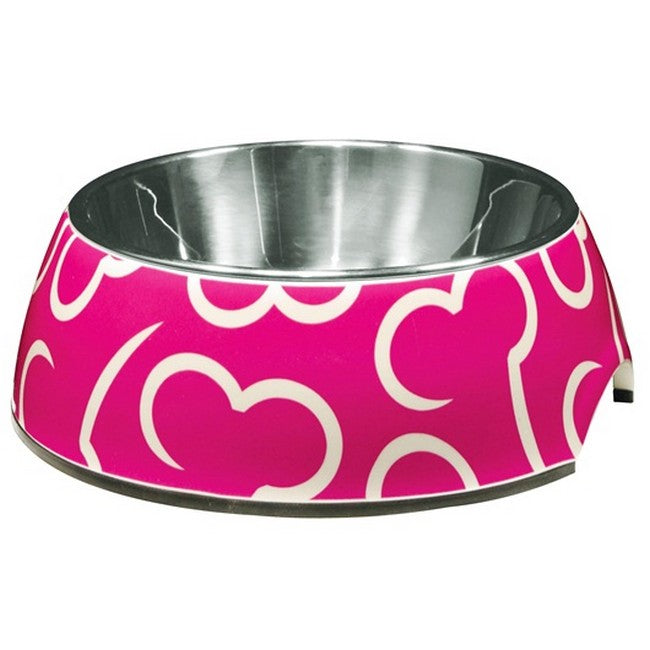 Dogit Dish 2-In-1 Pink Bone Small