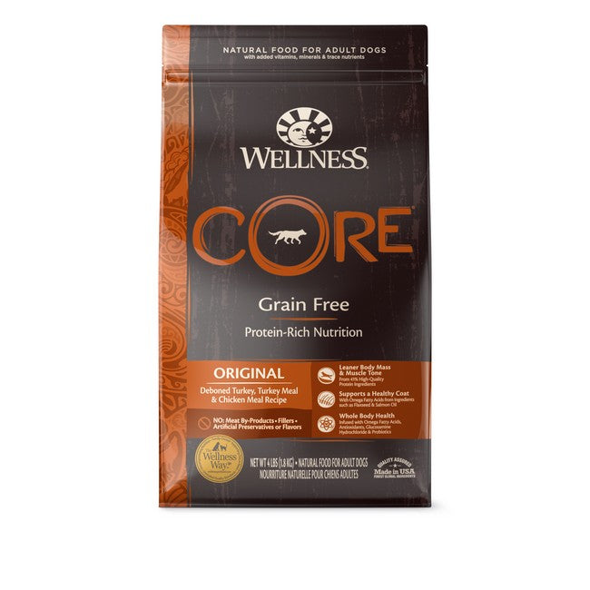 Wellness Core Grain Free Original Deboned Turkey,Turkey Meal & Chicken Meal Recipe Dog Dry Food 4Lb