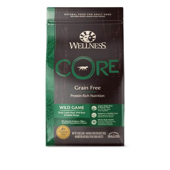 Wellness Core Grain Free Wild Game Duck,Lamb Meal,Wild Boar & Rabbit Recipe Dog Dry Food 4Lb