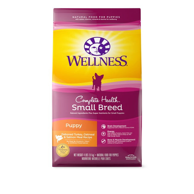 Wellness Complete Health Small Breed Puppy Deboned Turkey, Oatmeal & Salmon Dog Dry Food 4Lb