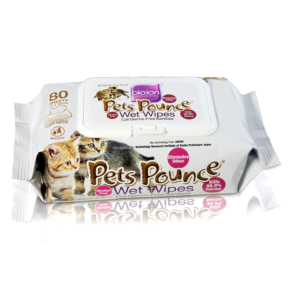 Pets Pounce Wet Wipes Pets Sanitizer Non-Alcohol 80 Sheet