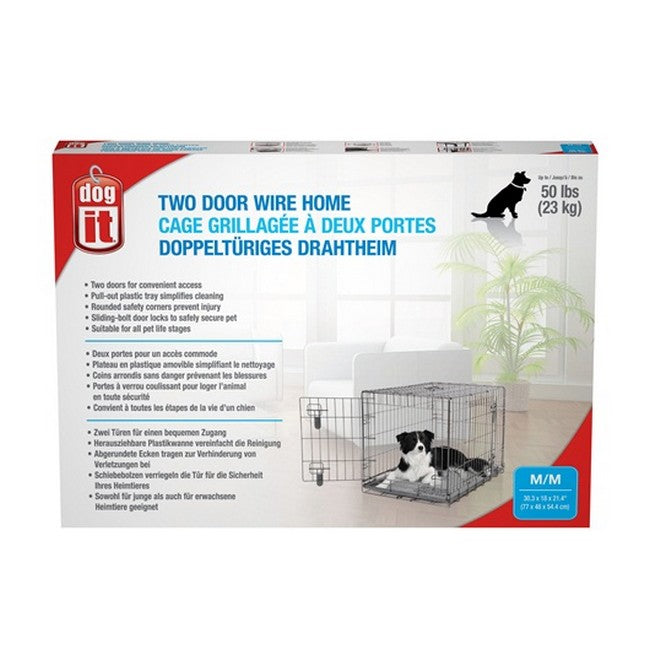Dogit Two Door Wire Home Crates With Divider Medium