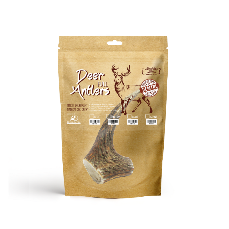 Absolute Bites Deer Antlers Dental Chew Dog Treat Medium