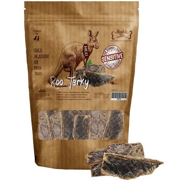 Absolute Bites Air Dried Roo Jerky Dog Treat 220g