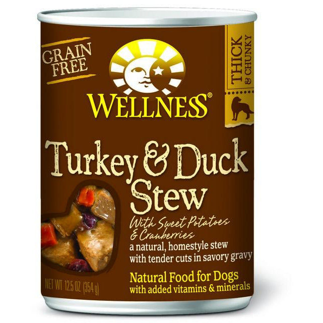 Wellness Grain Free Turkey & Duck Stew with Sweet Potatoes & Cranberries Dog Canned Food12.5oz