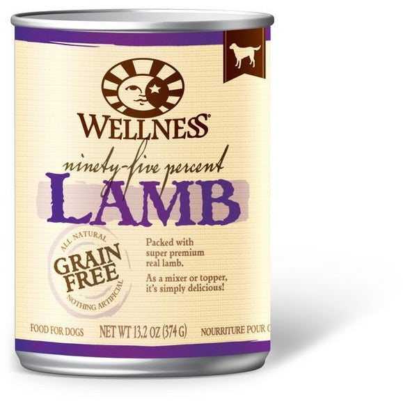 Wellness 95% Grain Free Lamb Pate Dog Canned Food 13.2oz