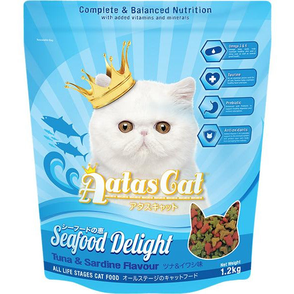 Aatas Cat Adult Catfood Seafood Delight Tuna & Sardine Dry Cat Food 1.2kg