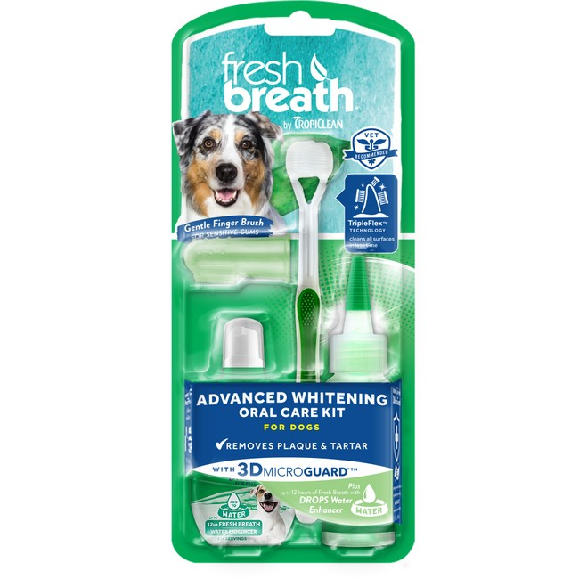 TropiClean Fresh Breath Oral Care Kit Advanced Whitening With 3D Micro Guard For Dogs