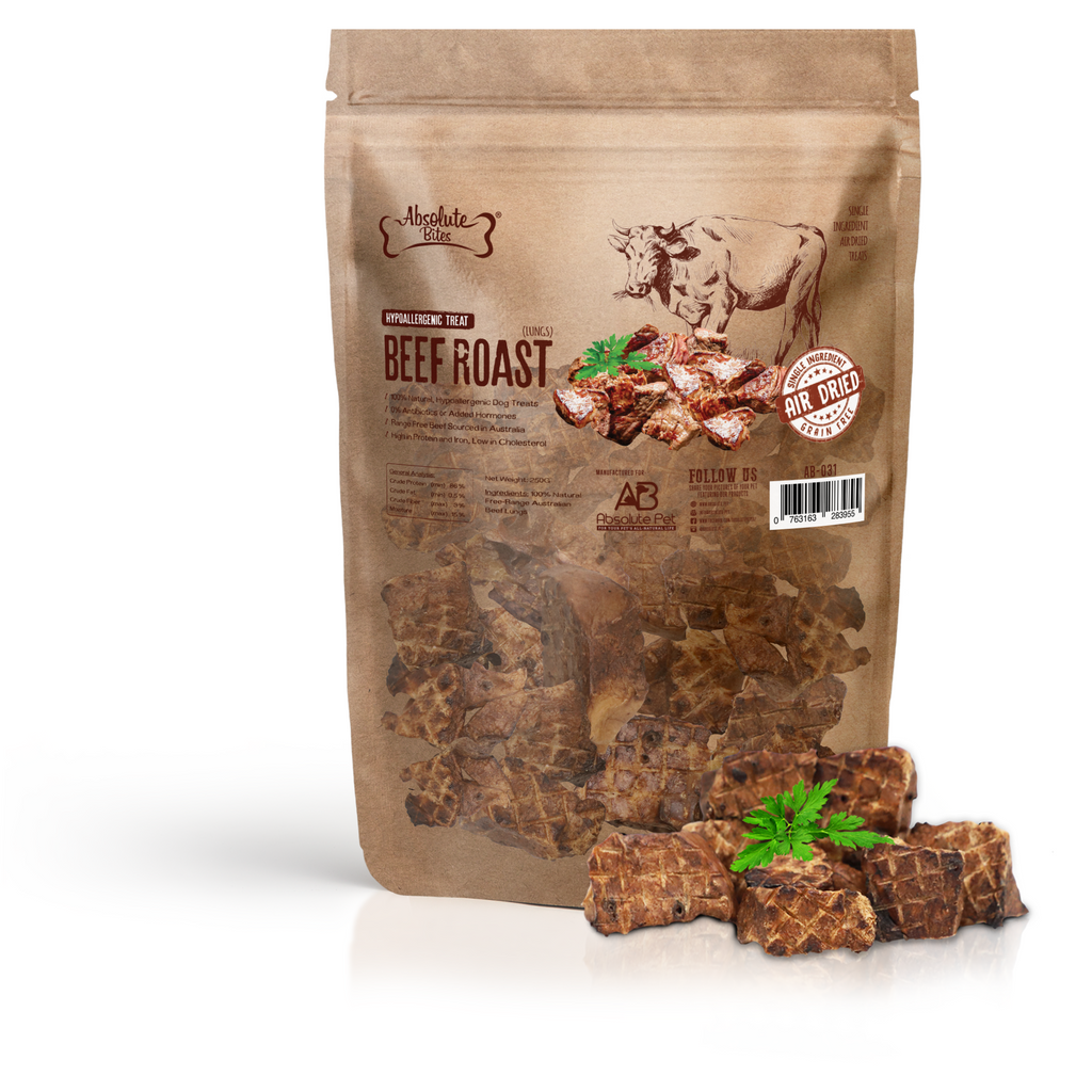 Absolute Bites Air Dried Beef Roast Dog Treats 250g