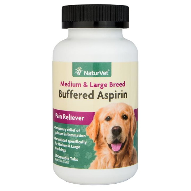 NaturVet Beffered Aspirin Chewable Tabs For Medium & Large Breed Dogs 75ct