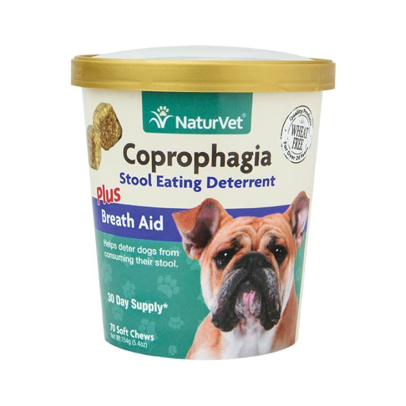 NaturVet Coprophagia Stool Eating Deterrent Plus Breath Aid Soft Chew Cup For Dogs 70ct