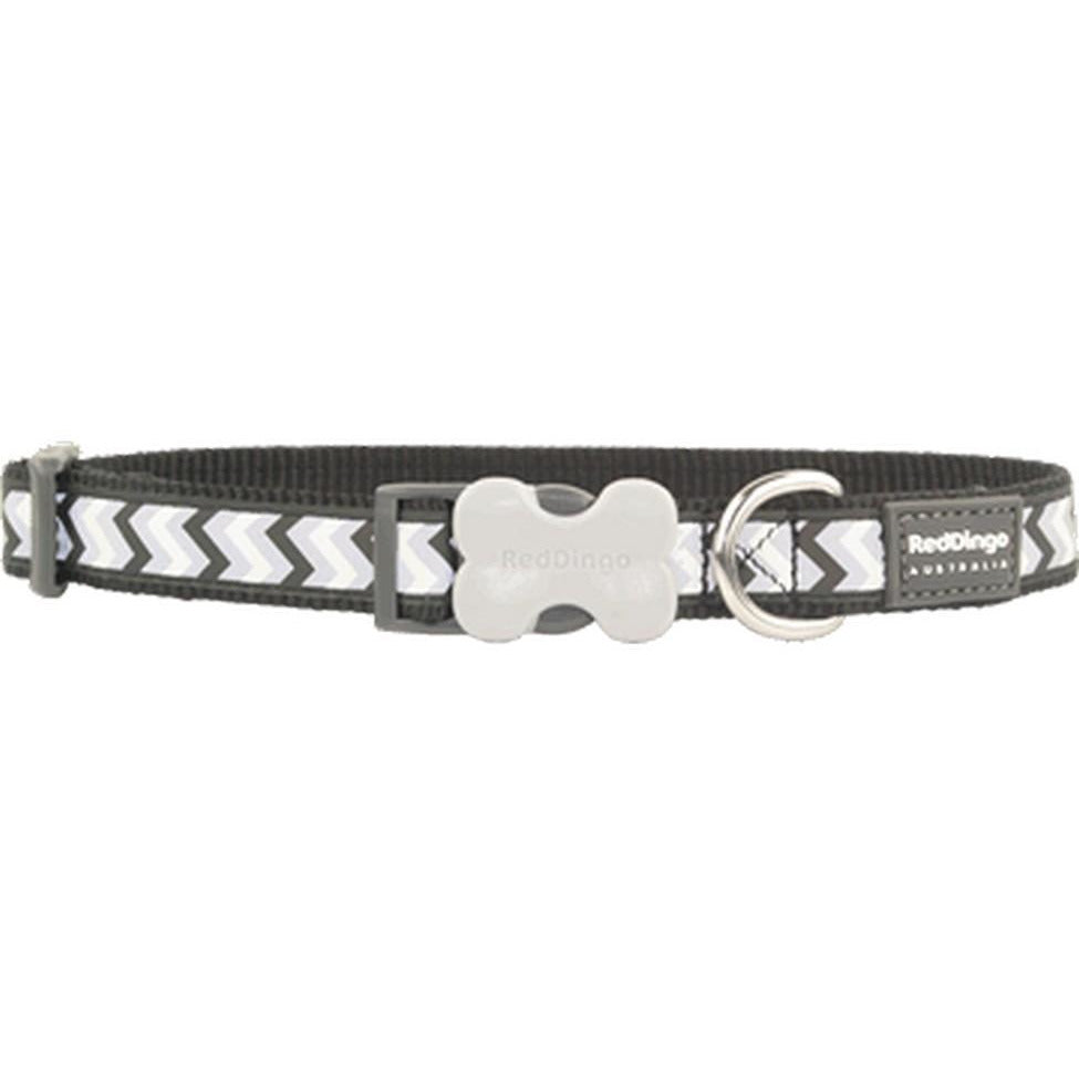 Red Dingo Bucklebone Collar Reflective (15mm) Ziggy Black