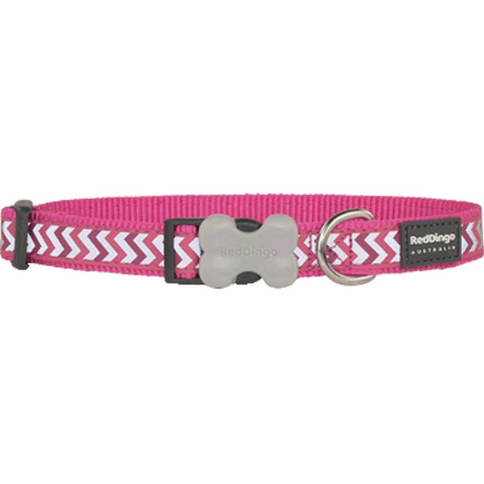Red Dingo Bucklebone Collar Reflective (S) Ziggy Hot Pink