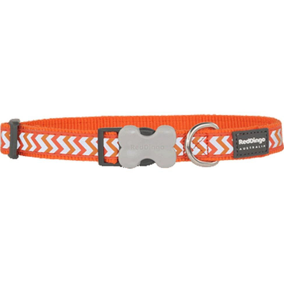 Red Dingo Bucklebone Collar Reflective (S) Ziggy Orange