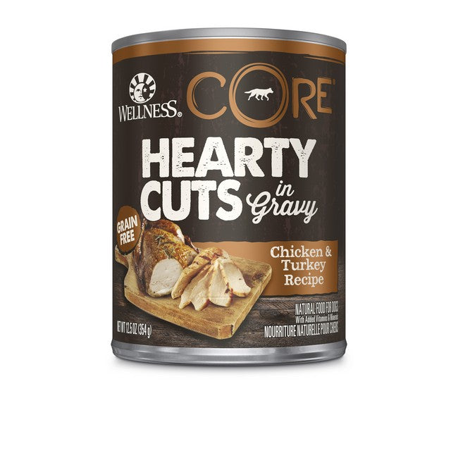 Wellness Core Hearty Cuts In Gravy Chicken & Turkey Dog Canned Food 12.5oz