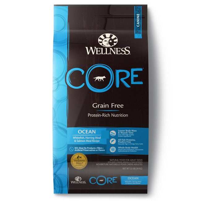 Wellness Core Grain Free Ocean WhiteFish,Herring Meal & Salmon Meal Recipe Dog Dry Food 22Lb