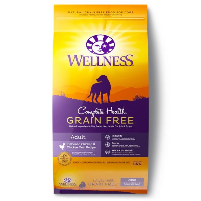 Wellness Complete Health Grain Free Adult Deboned Chicken & Chicken Meal Dog Dry Food 24Lb