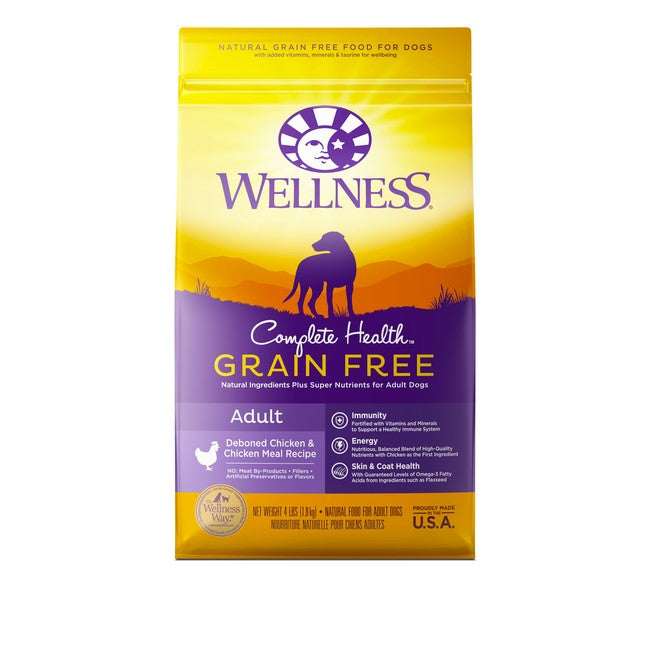 Wellness Complete Health Grain Free Adult Deboned Chicken & Chicken Meal Dog Dry Food 4Lb