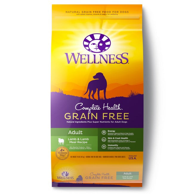 Wellness Complete Health Grain Free Adult Lamb & Lamb Meal Dog Dry Food 24Lb