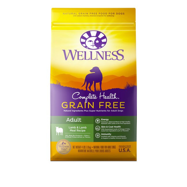 Wellness Complete Health Grain Free Adult Lamb & Lamb Meal Dog Dry Food 4Lb