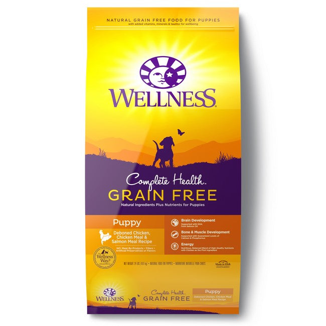 Wellness Complete Health Grain Free Puppy Deboned Chicken, Chicken Meal & Salmon Meal Dog Dry Food 24Lb