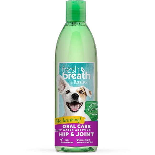 TropiClean Fresh Breath Oral Care Water Additive Plus Hip & Joint For Dogs & Cats  473ml