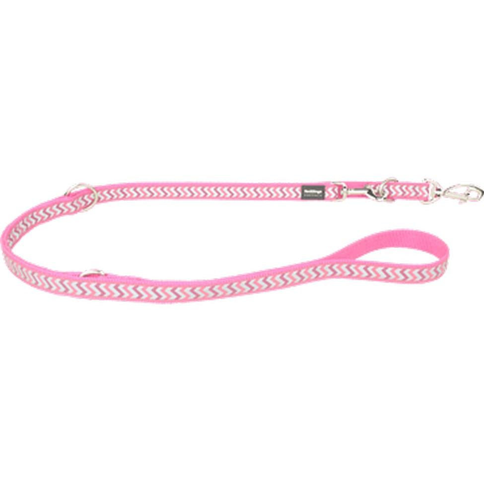 Red Dingo Fixed Dog Leads Reflective (20mm) Ziggy Hot Pink