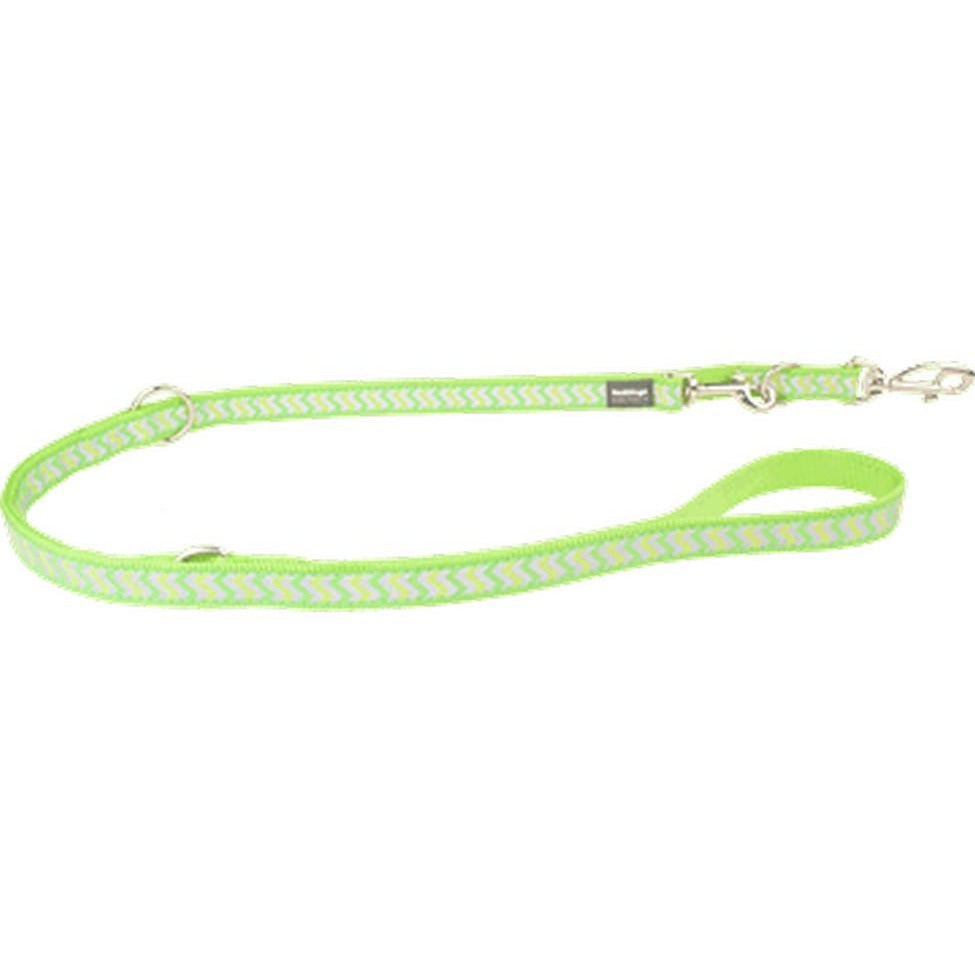 Red Dingo Fixed Dog Leads Reflective (20mm) Ziggy Lime Green