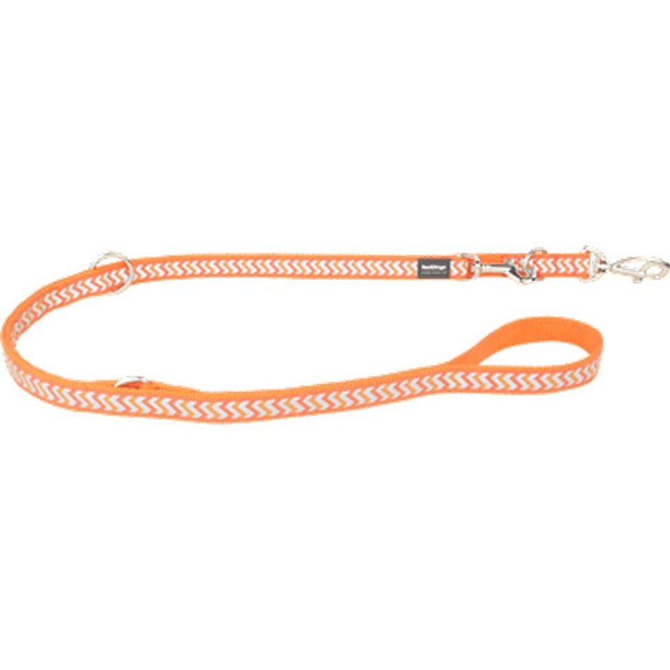 Red Dingo Fixed Dog Leads Reflective (15mm) Ziggy Orange