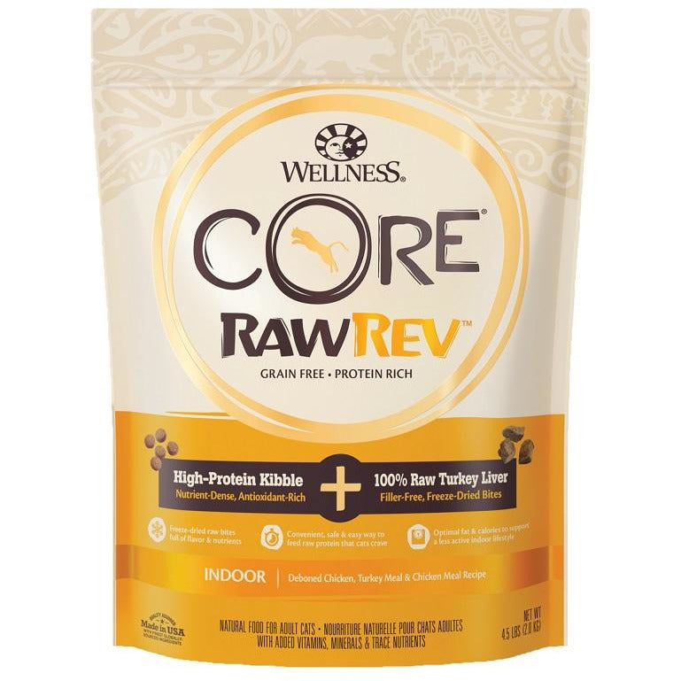 Wellness Core RawRev Grain Free Indoor Recipe with Freeze-Dried Turkey Liver Dry Food 4.5lb