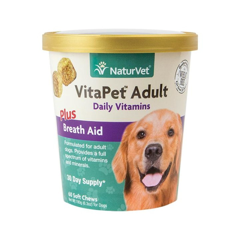 NaturVet VitaPet Adult Daily Vitamins Plus Breath Aid Soft Chew Cup For Dogs 60ct