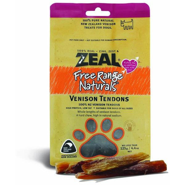 Zeal Free Range Naturals Venison Tendons Dogs Treats 125g (3 Packs)