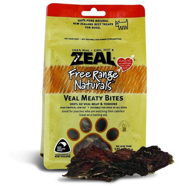 Zeal Free Range Naturals Veal Meaty Bites Dogs Treats 125g (3 Packs)