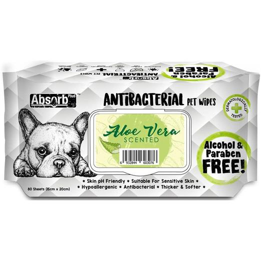 Absorb Plus Pet Wipes Antibacterial 80's Aloe Vera For Dogs & Cats