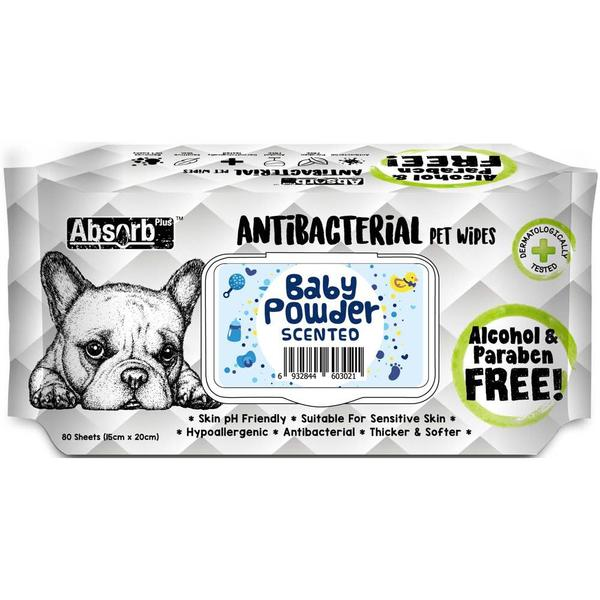 Absorb Plus Pet Wipes Antibacterial 80's Baby Powder For Dogs & Cats (2 Packs)