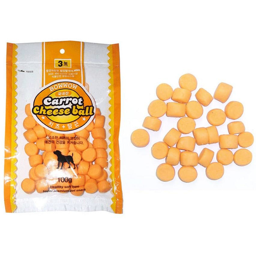 Bow Wow Carrot Cheese Ball Dog Treats 100g