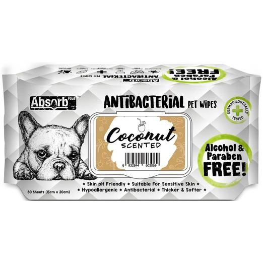 Absorb Plus Pet Wipes Antibacterial 80's Coconut For Dogs & Cats (2 Packs)