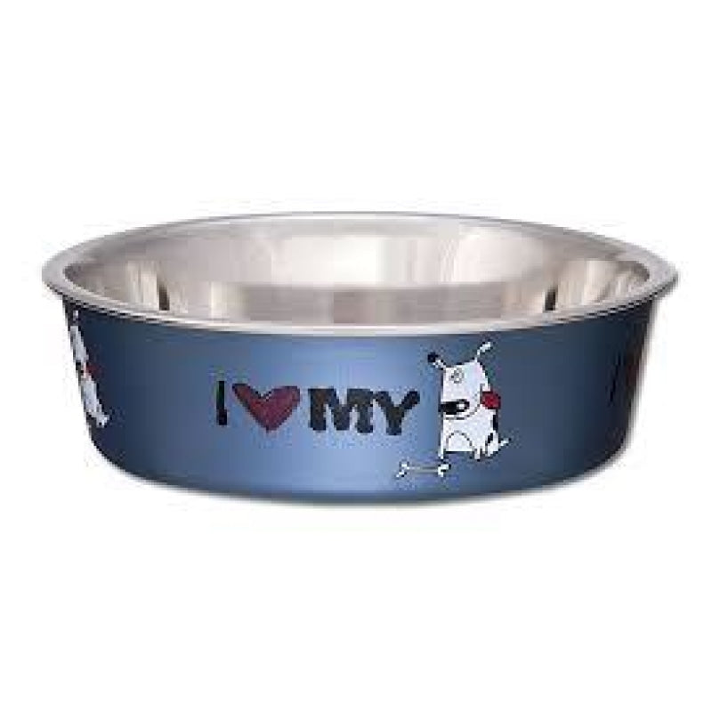 Loving Pets Bella Bowls Expressions I Love My Dog Steel Blue For Dogs & Cats