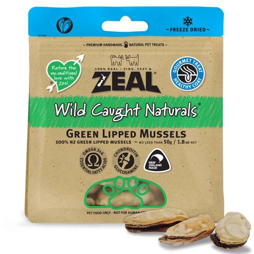 Zeal Wild Caught Naturals Green Lipped Mussels Dogs & Cats Treats 50g (3 Packs)