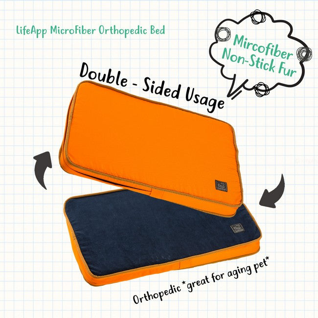 LifeApp Micro Fiber Orthopedic Bed Double Sided Orange Navy (L)