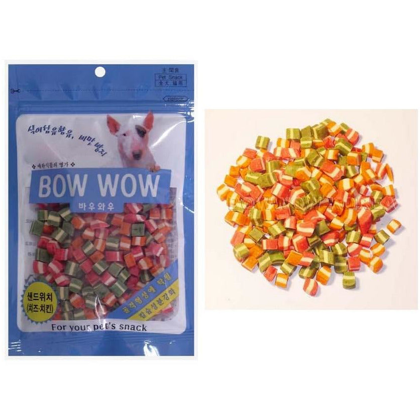Bow Wow Sandwich Cut Mixed Cheese Dog Treats 120g