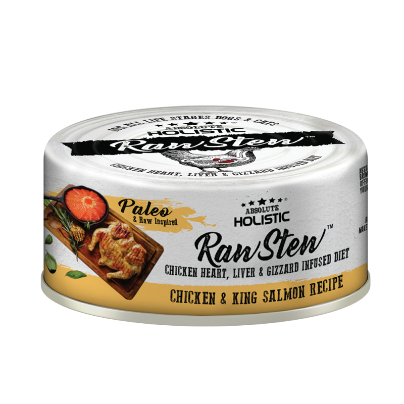 Absolute Holistic Raw Stew with Chicken Organs Deboned Chicken & King Salmon Recipe Canned Food 80g