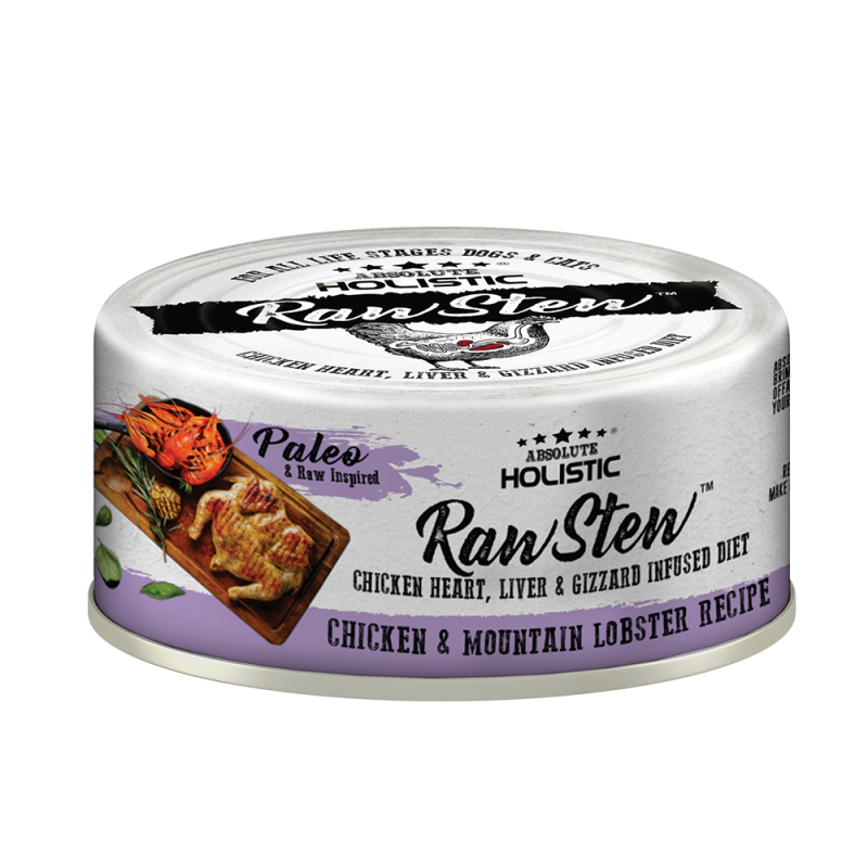 Absolute Holistic Raw Stew with Chicken Organs Deboned Chicken & Mountain Lobster Recipe Canned Food 80g