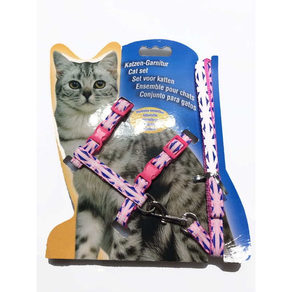 Cat Harness with Leash Design Pink With Prints